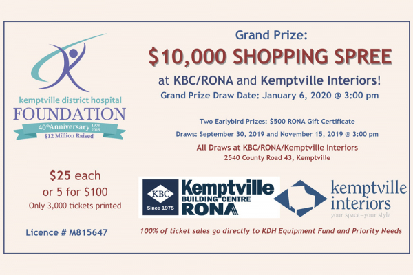 KBC/RONA donates $10,000 Shopping Spree in Support of KDH Foundation